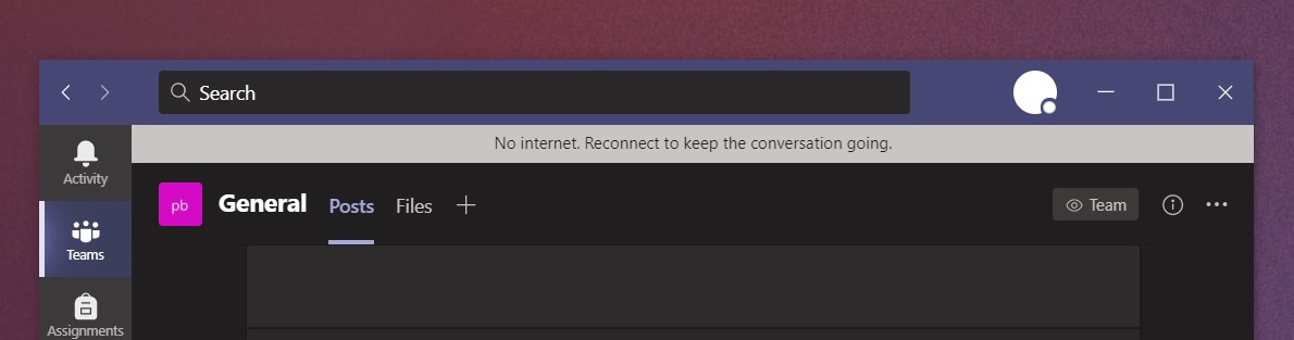 Microsoft Teams internet connectivity