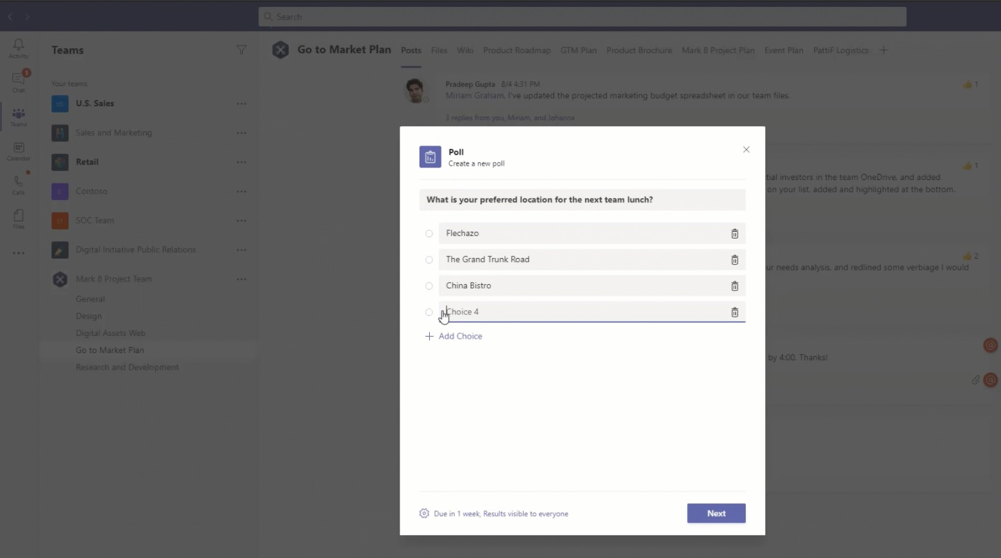 Microsoft Teams poll integration