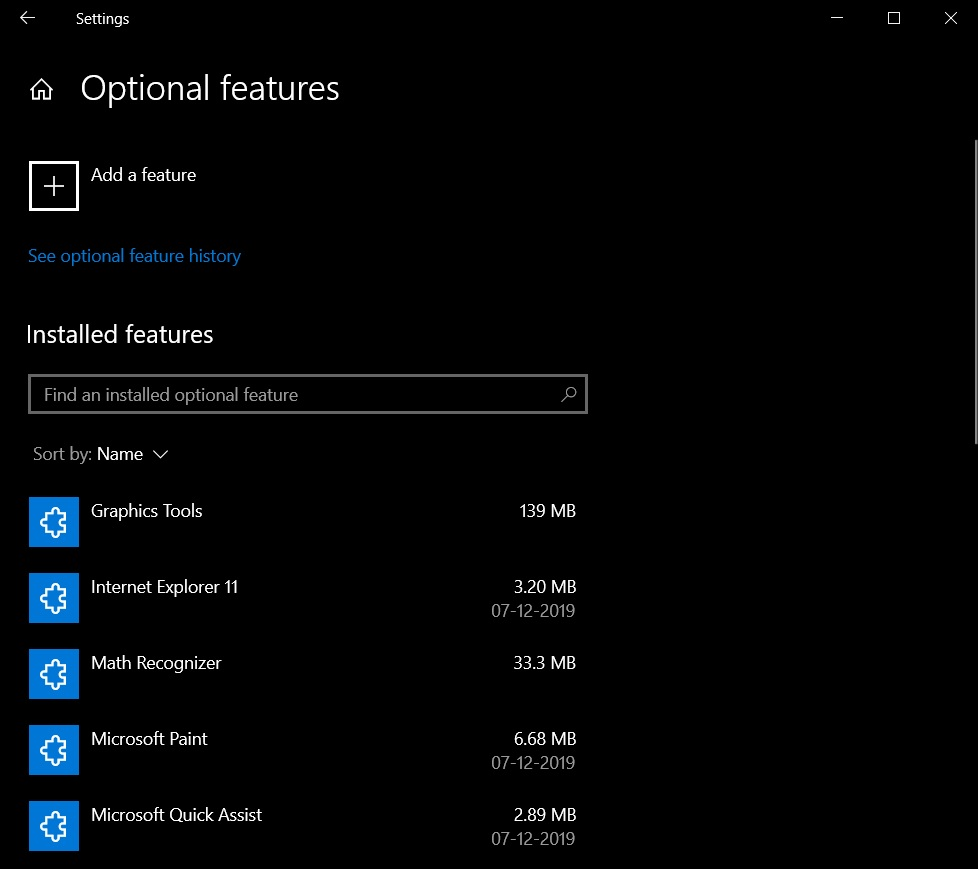 Optional features page