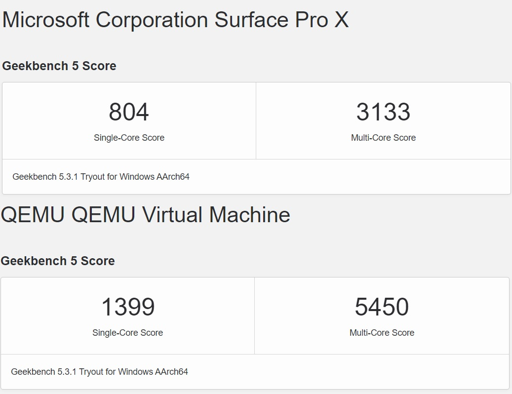 Surface ARM benchmarks