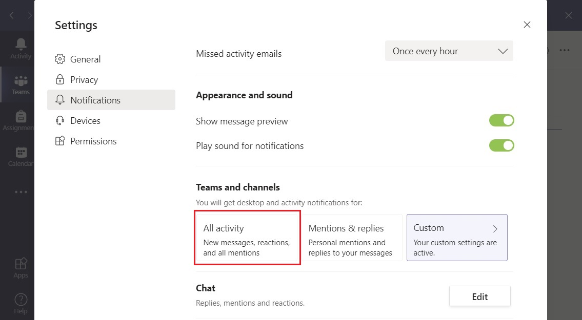 Teams all activity notifications