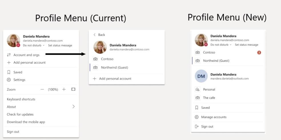 Teams profile menu