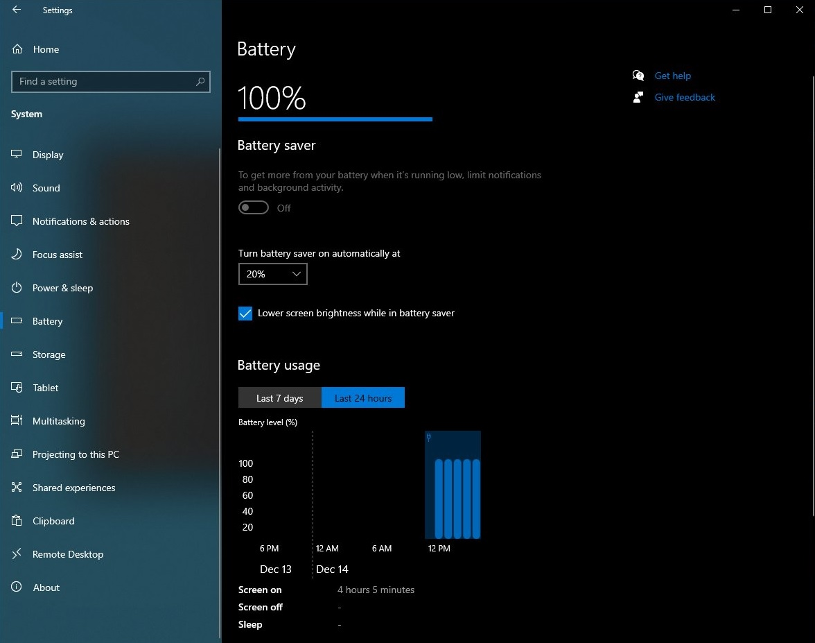 Windows 10 Battery usage