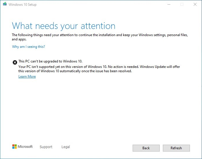 Windows 10 compatibility hold