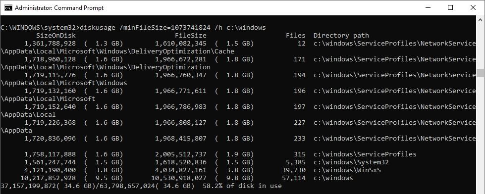 Disk Usage tool