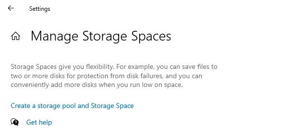 Storage Spaces in Settings