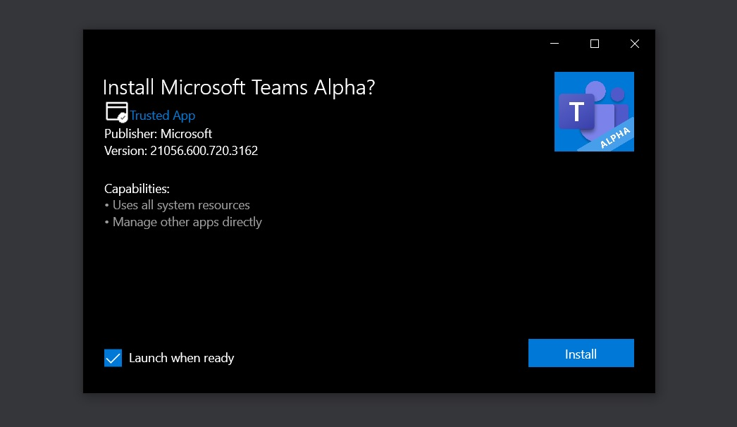 Microsoft Teams Alpha