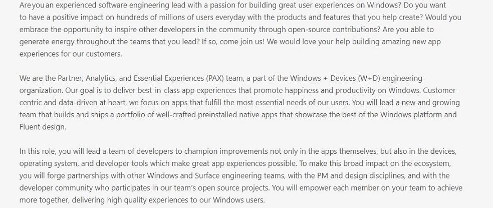 Microsoft job listing