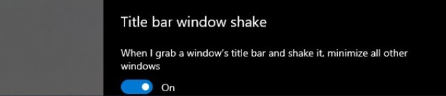 Windows 10 Aero Shake settings