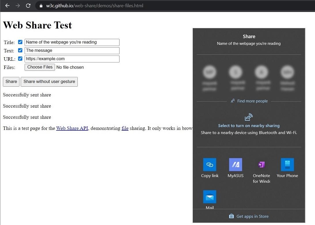 Chrome Share UI