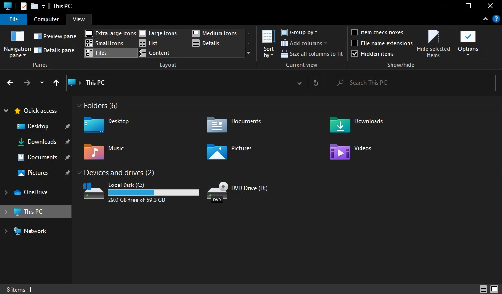 File Explorer dark