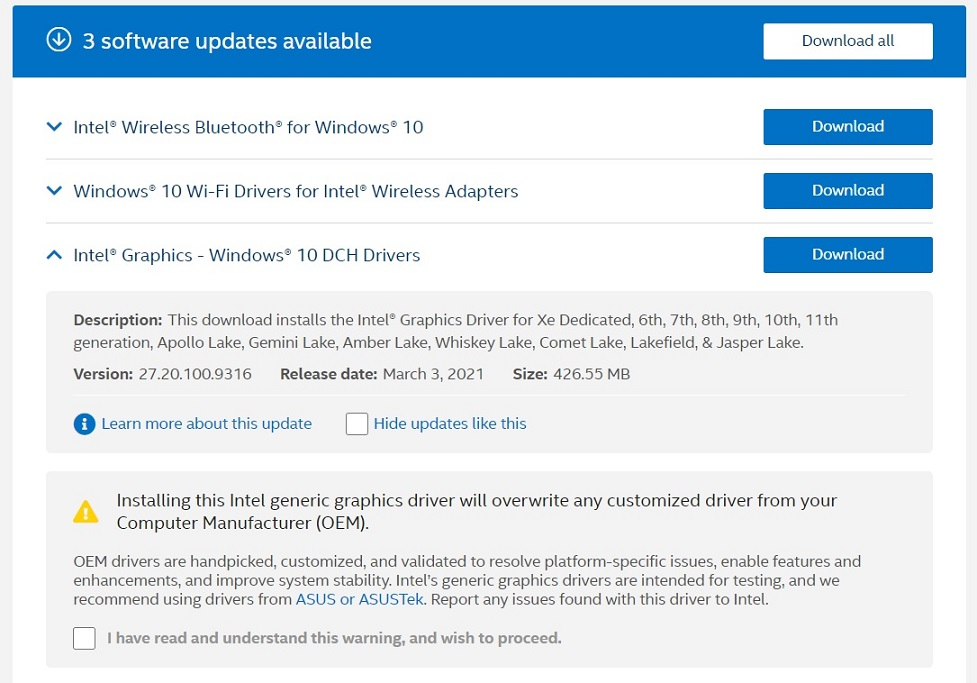 Intel March 2021 driver update