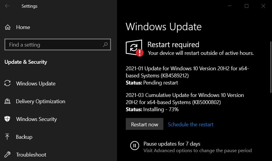 KB5000802 update