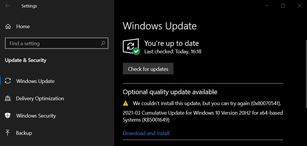 KB5001649 update error 0x80070541