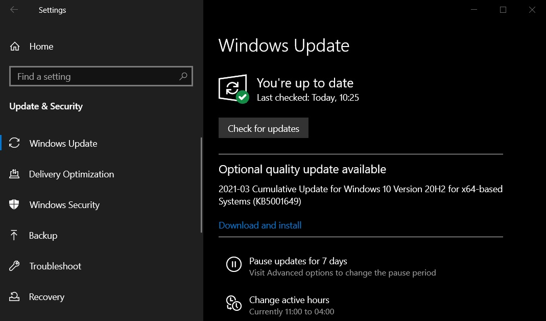 KB5001649 update