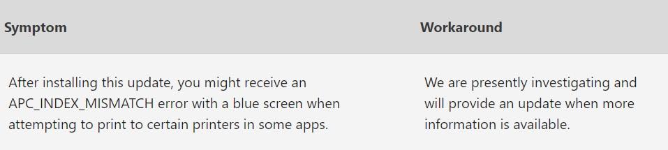 March 2021 update bug