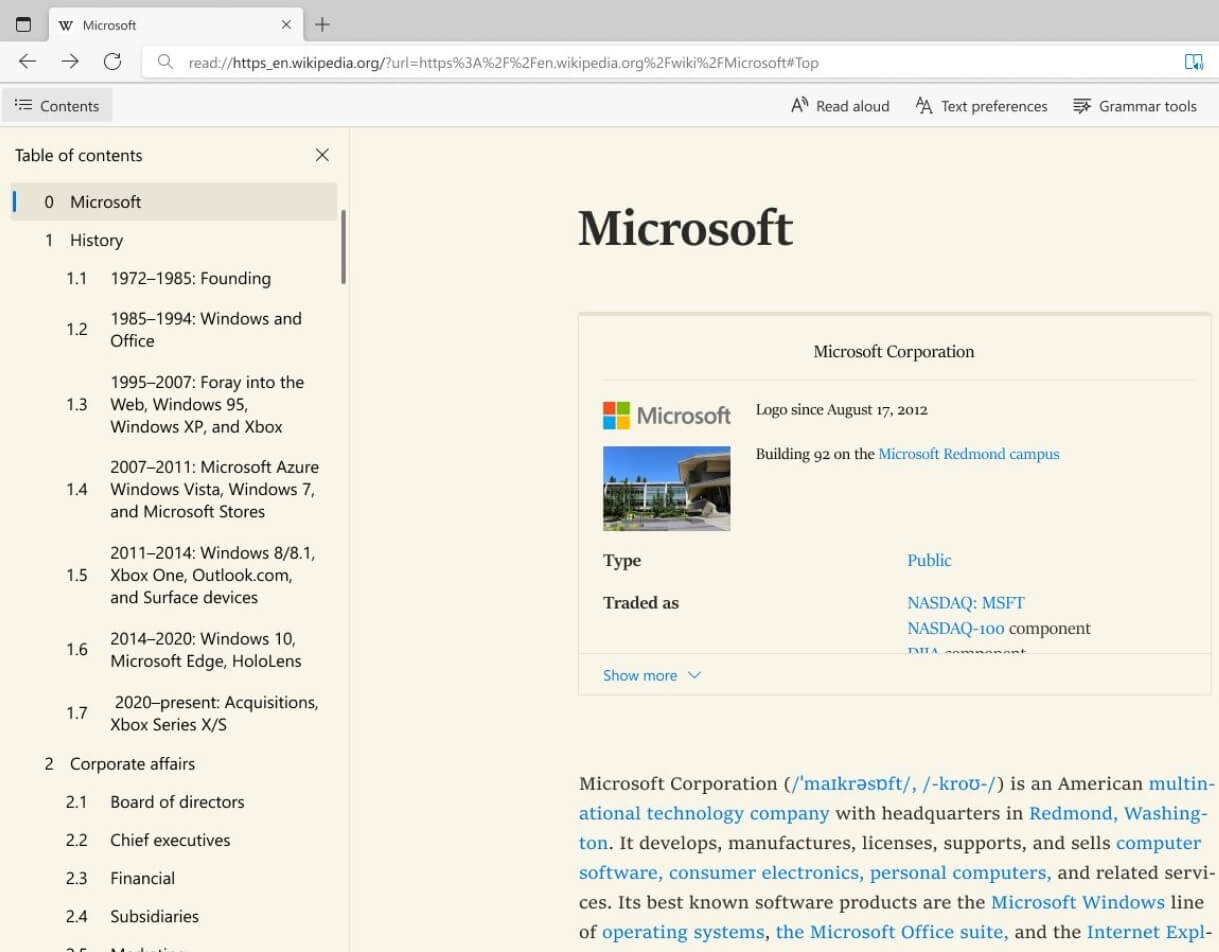 Microsoft Edge reader mode