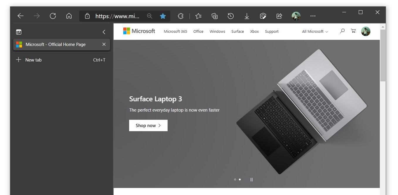 Microsoft Edge vertical tabs