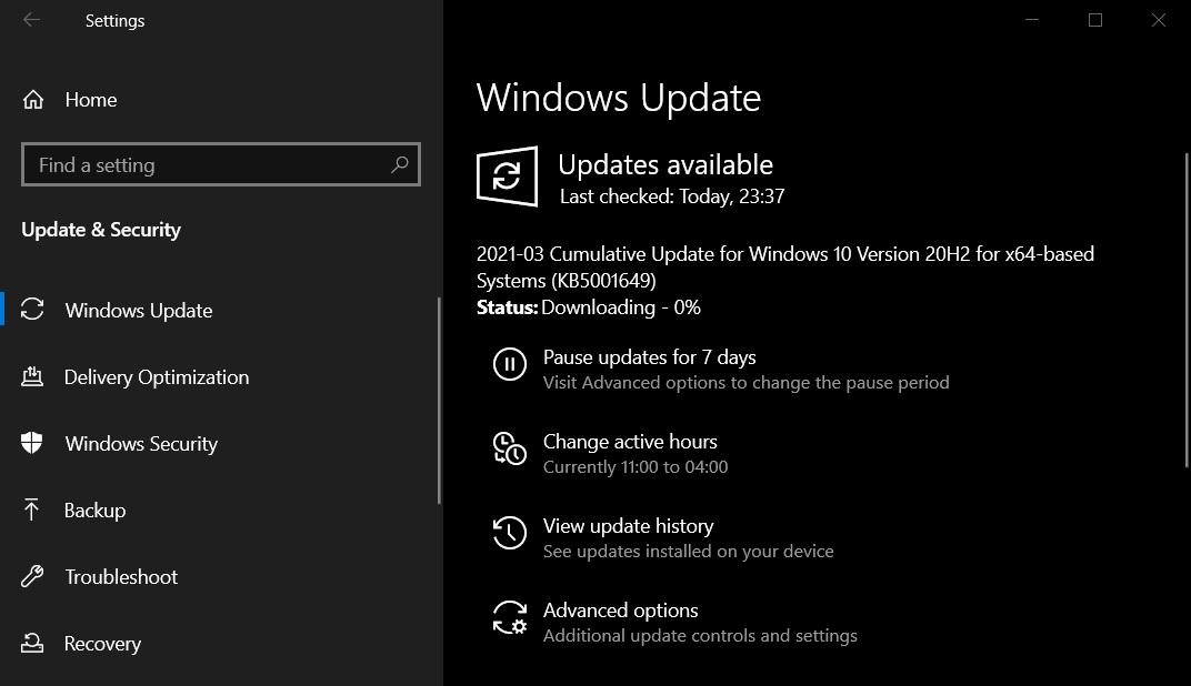 Windows 10 KB5001649 resumed