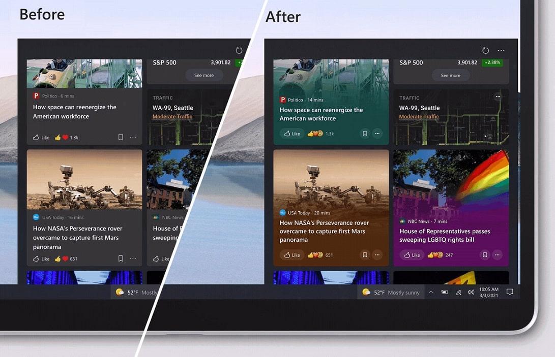 Windows 10 taskbar newsfeed