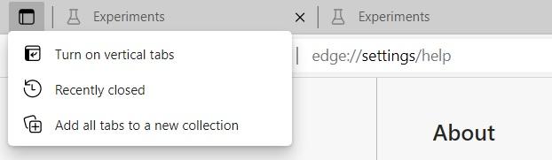 Edge tab actions menu