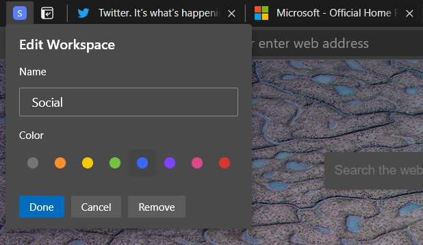 Edit Workspace