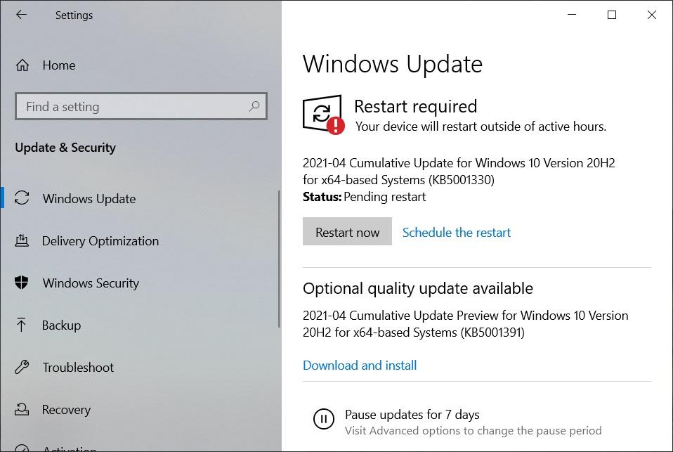 KB5001391 update