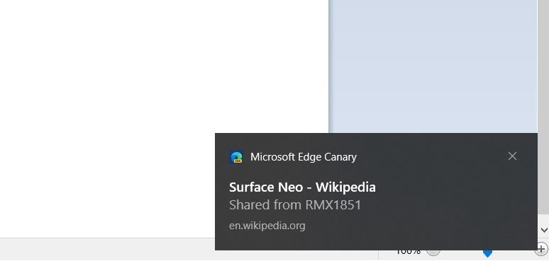 Microsoft Edge Canary tabs share