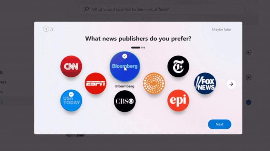 Taskbar newsfeed settings