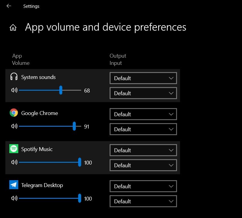 Windows 10 audio settings