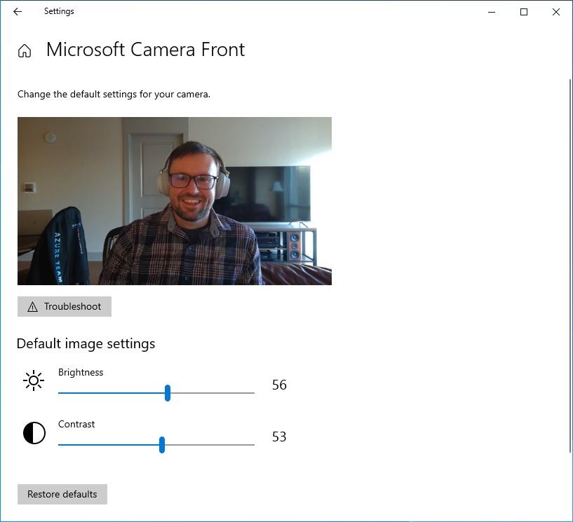 Windows Camera settings
