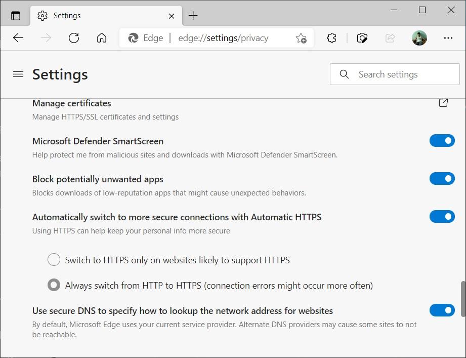 Edge HTTPS only mode