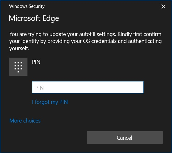 Edge Windows Hello