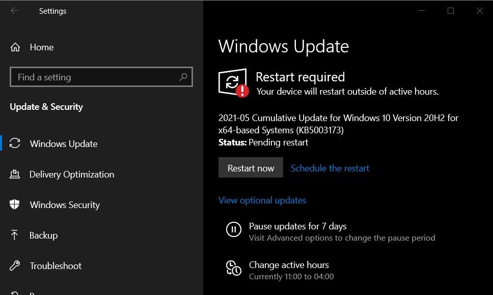 KB5003173 update