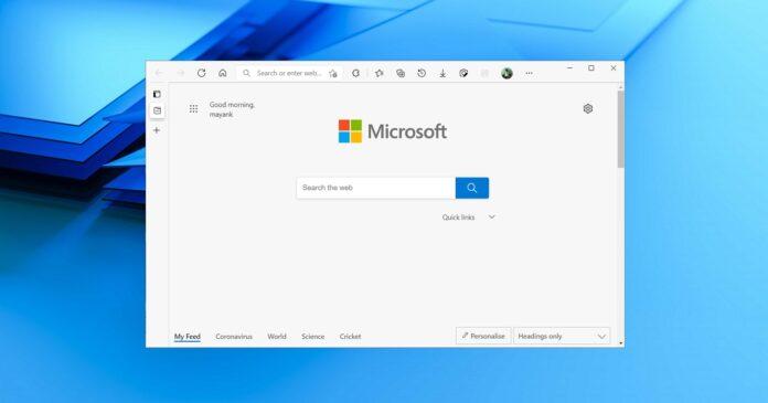 Microsoft Edge startup page
