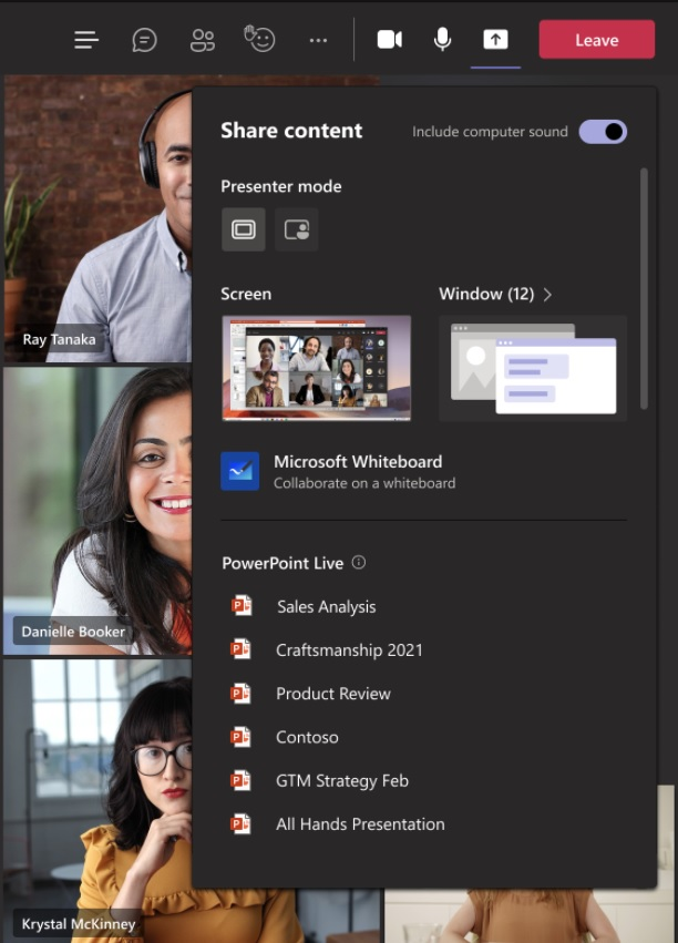 Microsoft Teams PowerPoint Live