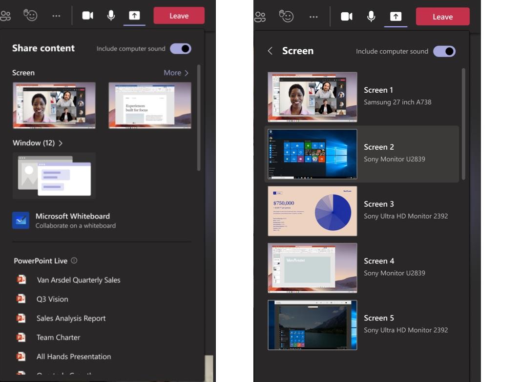 Microsoft Teams new share tray