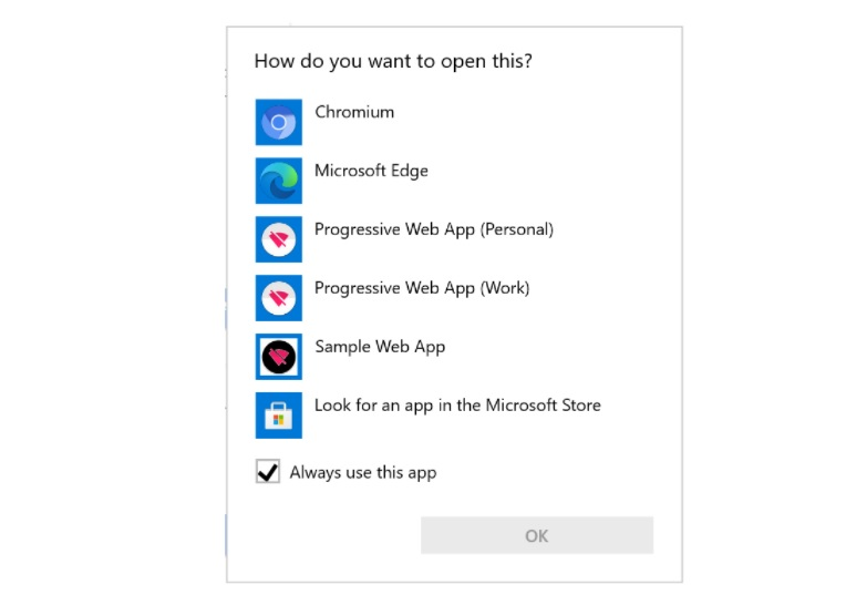 Microsoft web app feature