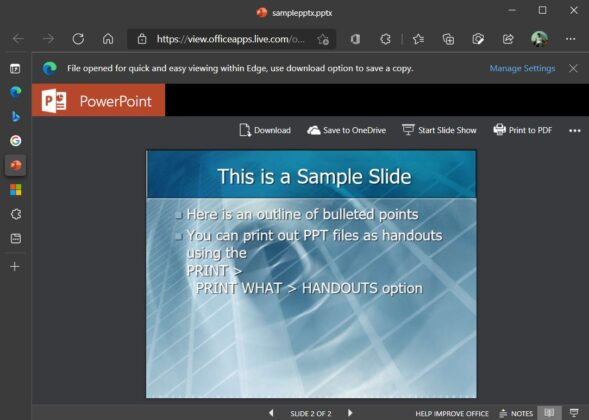 Office Viewer in Edge browser