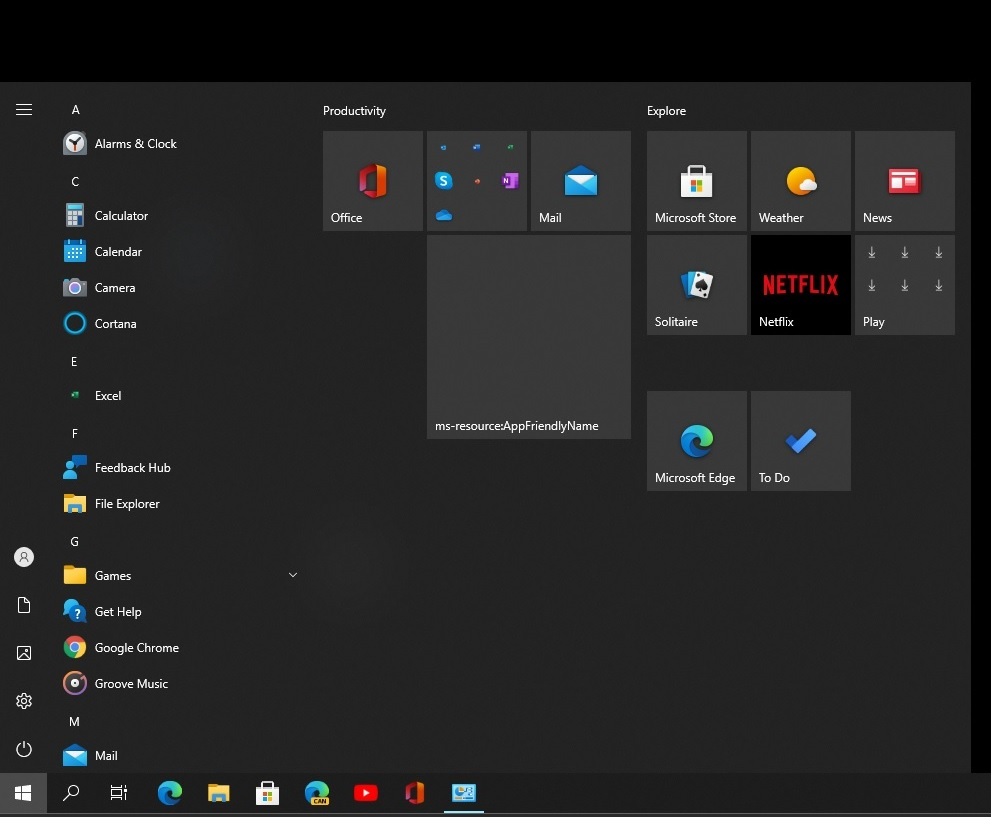 Start menu issues