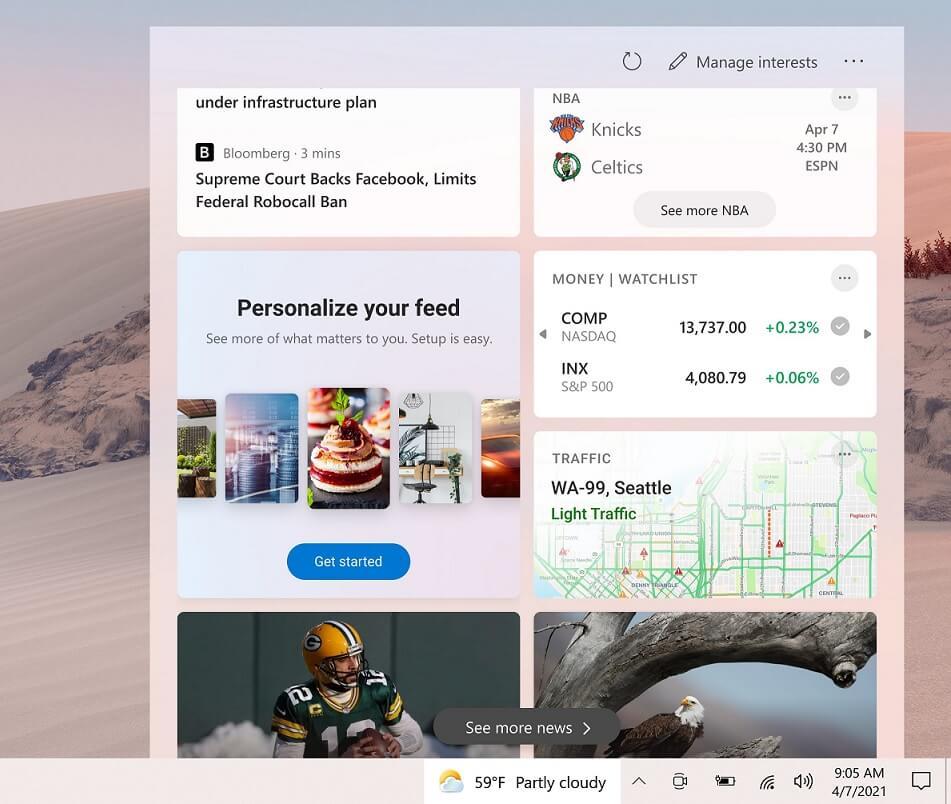 Taskbar feed