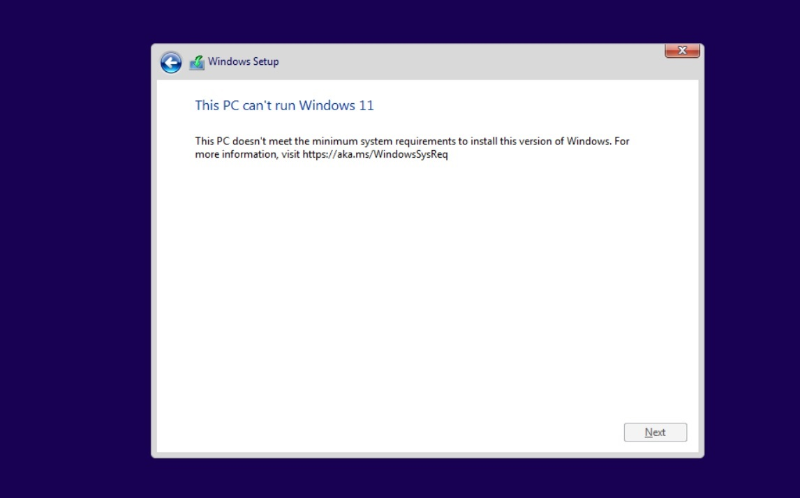 Can't run Windows 11 error