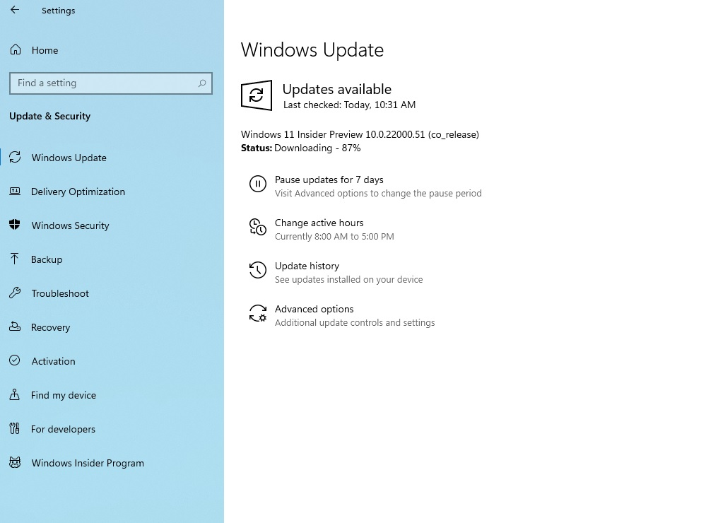 Download Windows 11 preview