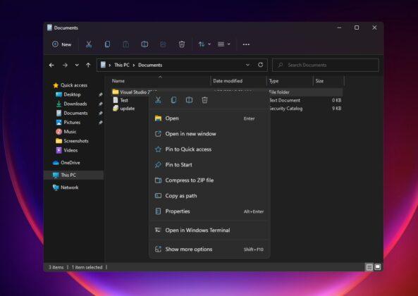 File Explorer context menu