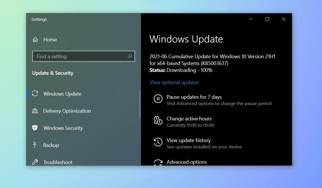 June 2021 Windows Update