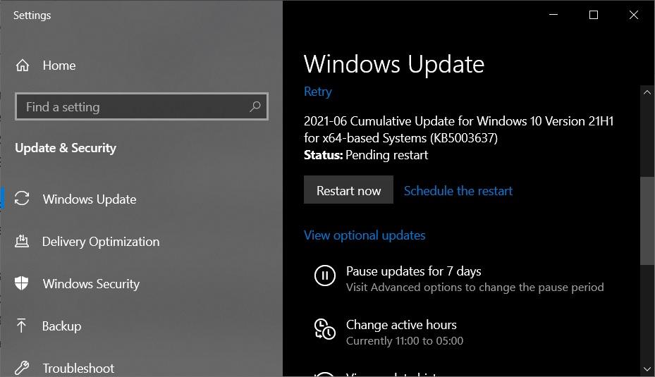 KB5003637 update