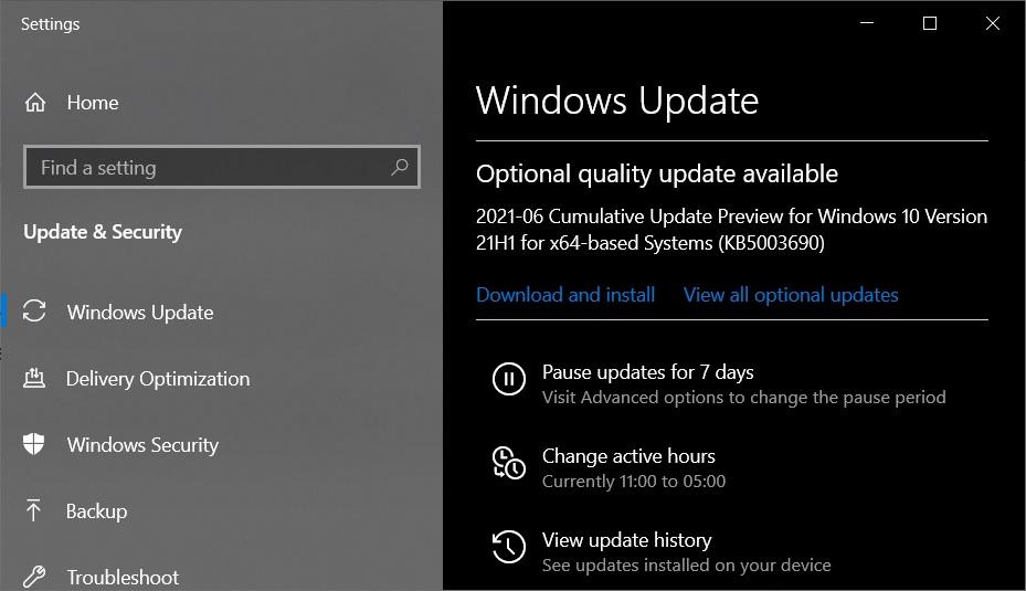 KB5003690 Windows Update