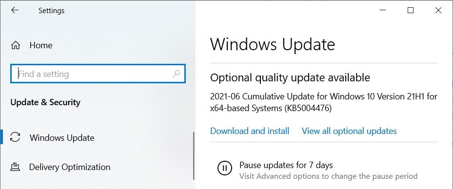 KB5004476 update