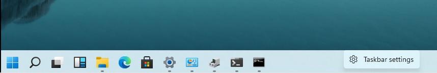 Taskbar settings option