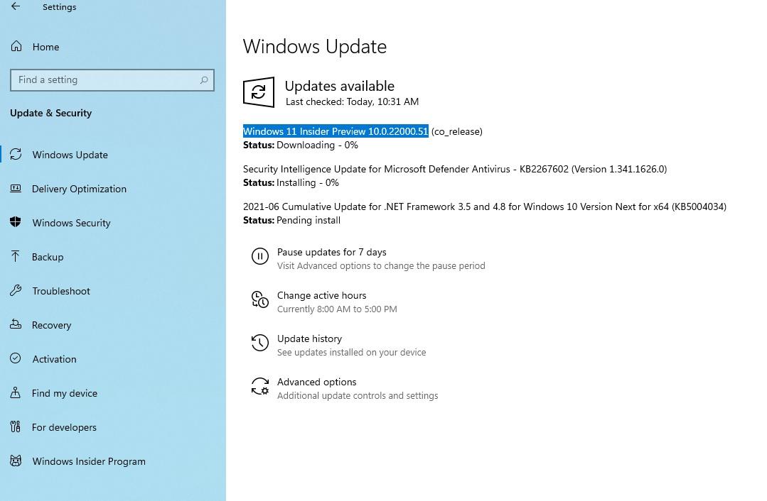 Windows 10 Build 22000.51